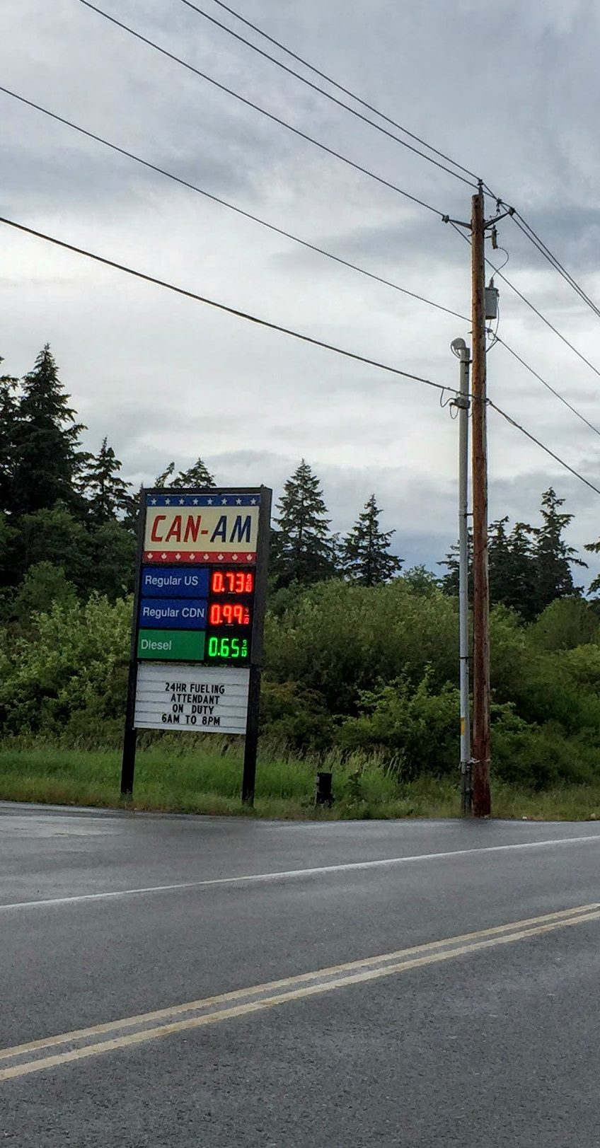Gas prices in US and CAD dollars