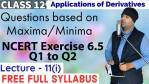 Applications of Derivatives Lecture 11(i)