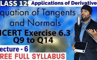 Application of Derivatives Class 12 Maths Chapter 6 Exercise 6.3