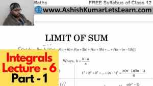 Integrals Lecture 6 Part 1 640 x 360