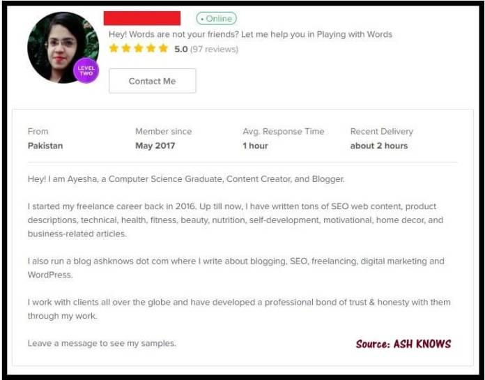 Fiverr Profile - ASH KNOWS