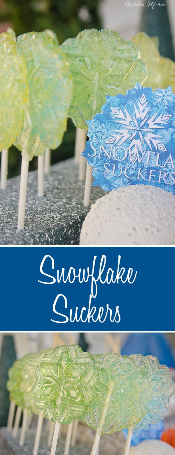 it is easy to make homemade suckers, use a snowflake mold to create snowflake suckers perfect for a frozen or winter party