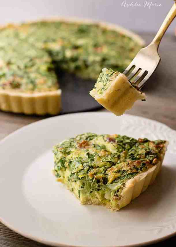 quiche is an easy breakfast and it tastes amazing, especially with spinach, artichoke hearts, cheese and bacon