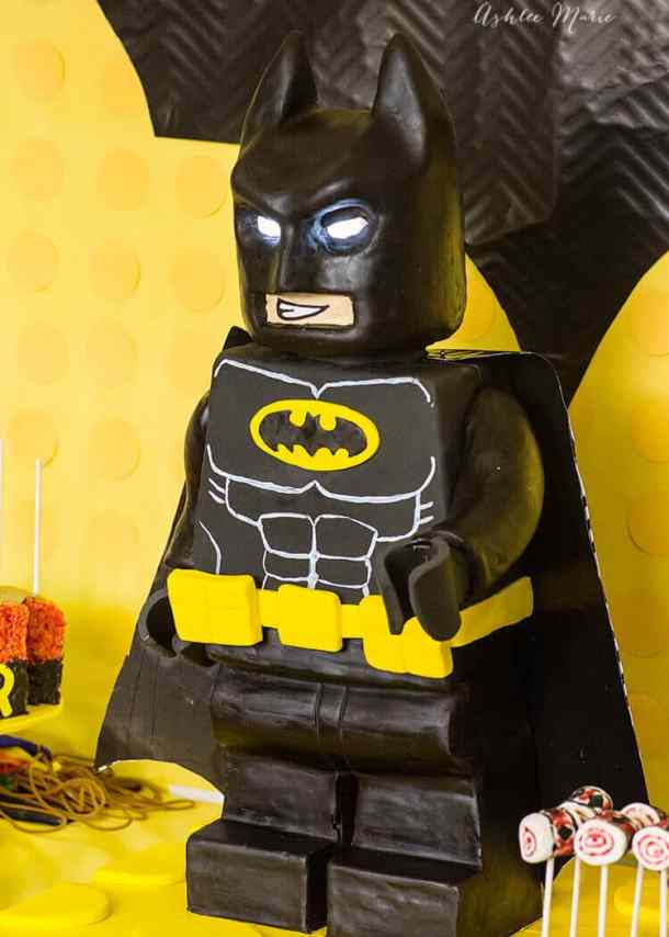 a full video tutorial for creating this standing Lego Batman cake - internal structure cake carving and more