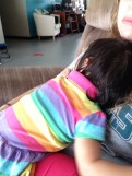 Laying on Auntie Ashleigh after a tumble. We needed some extra loving that day.