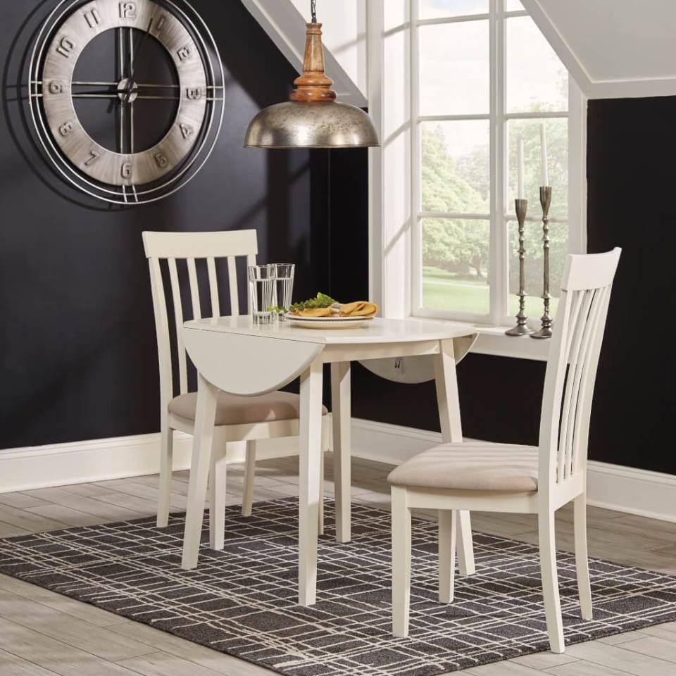 白いドロップリーフテーブル