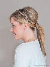 By adding a simple braid to one side and some back combing at the crown, this simple style is perfect for the office or a night out on the town.