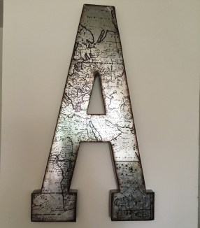 I have this Letter A that I purchased from Ross. This makes a great statement piece for my living room. Definitely a conversation starter.