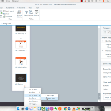 Linking Scenes in Story View in Articulate Storyline 360