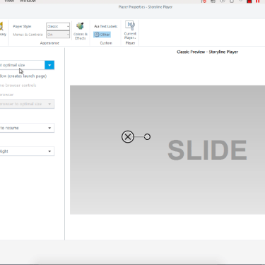 Adjusting Player Size Under Browser Settings in Articulate Storyline 360