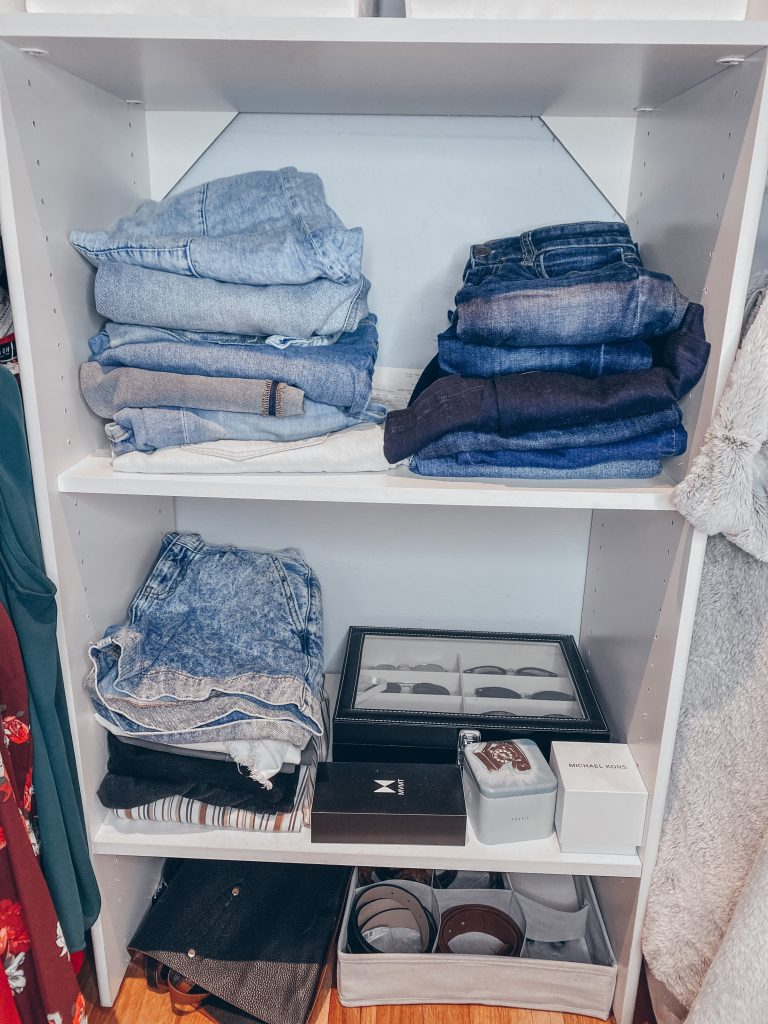 Stacks of denim organization hacks by color