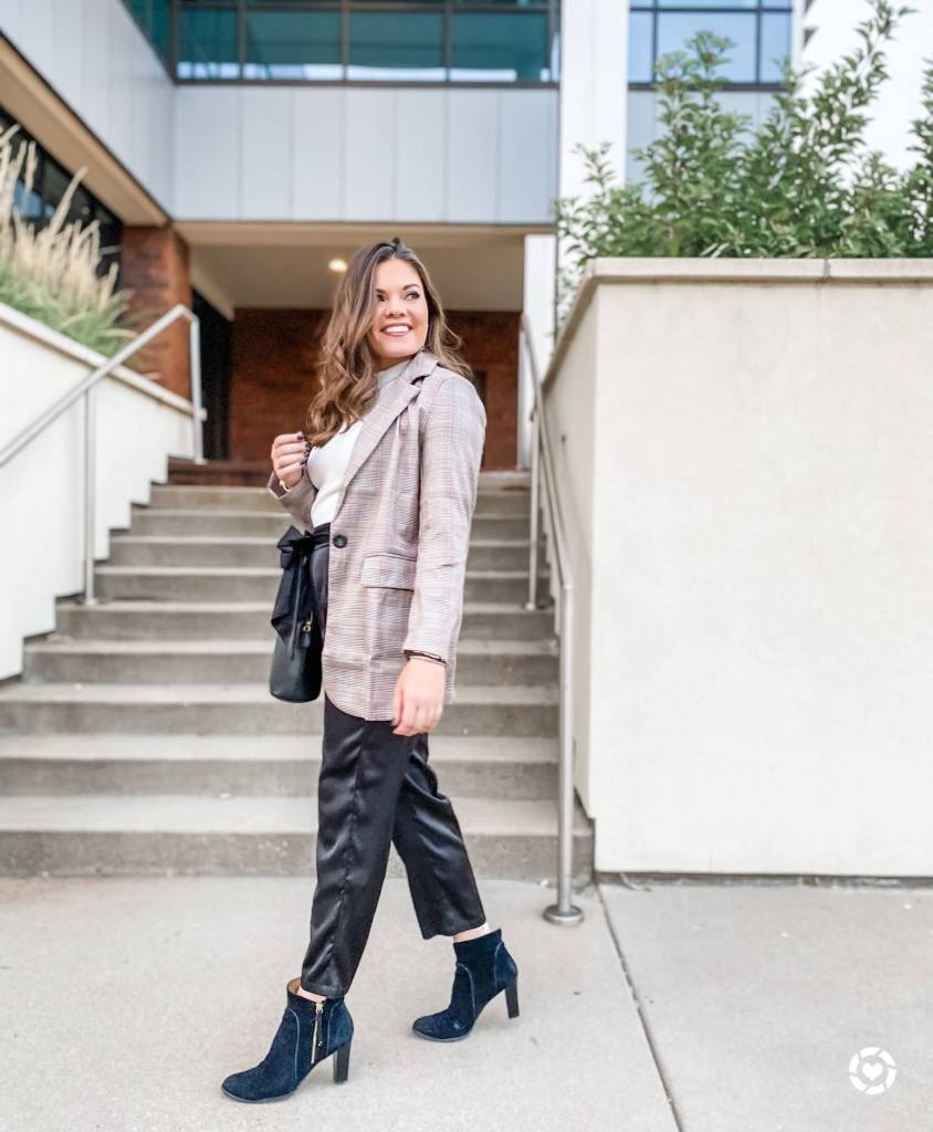 Amazon oversized blazer paired with satin joggers and black heeled booties from ashleymarieblog_ Instagram Recap.
