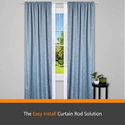 kenney fast fit buchanan 5 8 easy install decorative window double curtain rod 36 66 nickel