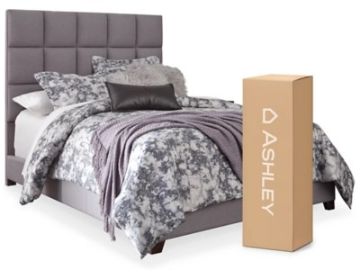 dolante queen upholstered bed with 10 hybrid mattress in a box gray