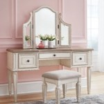 Realyn Vanity And Mirror With Stool Ashley Furniture Homestore