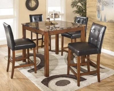 Theo Counter Height Dining Room Table And Bar Stools (Set