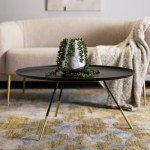 Safavieh Round Tray Top Coffee Table With Metal Gold Cap Ashley Furniture Homestore