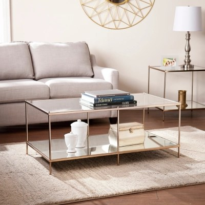 southern enterprises gold finished glass coffee table
