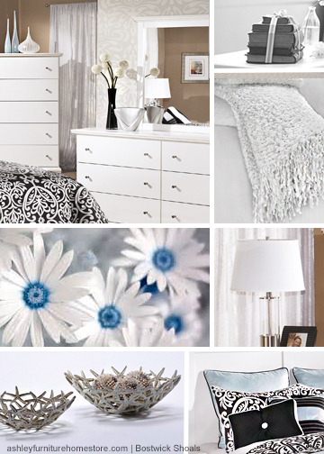 Because there's nothing wrong with a little less color, sometimes. #ashleyfurniture #white #bed #vases #interiordesign #design #bedroom #daisies #lamp