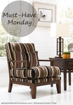 "This week's ""Must-Have Monday"" features the accent chair from our Crestwood Walnut collection. These bold stripes will pair perfectly with a solid brown couch."