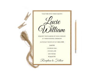 Rustic Ivory Wedding Invitation