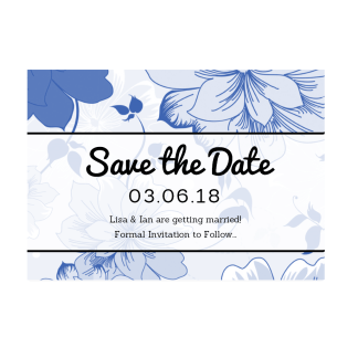 Blue Vintage Save the Date