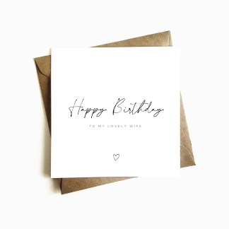 Minimalist Wife Birthday Card