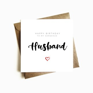 'Gorgeous Husband' Birthday Card
