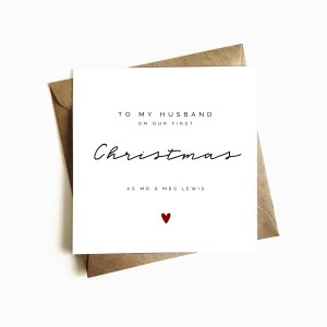 Personalised 'First Christmas as Mr & Mrs' Husband Card