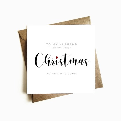 Personalised 'First Christmas as Mr & Mrs' Card - Husband