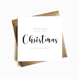 Personalised 'First Christmas as Mr & Mrs' Card - Wife