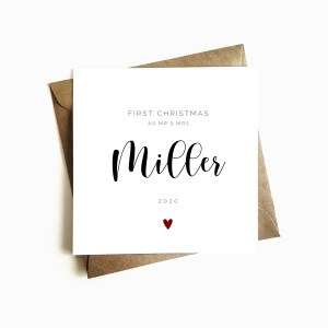 Personalised 'First Christmas as Mr & Mrs' Card