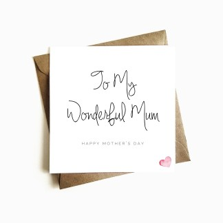 'Wonderful Mum' Mother's Day Card