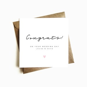 Personalised 'Congrats' Wedding Day Card