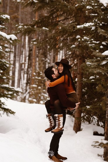 a happy couple in Breckenridge, Colorado