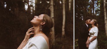 Bride and groom snuggling in the woods | Wedding portraits | Elopement portraits | Bride and groom elopement photos | Elopement wedding photos in Colorado | Colorado wedding photos | Colorado elopement photos | Elopement at Treehaus, Colorado |  Treehaus Colorado | Colorado elopement | Treehaus elopement | Colorado elopement venue | Colorado mountain elopement venue | Unique elopement venue | Elopement venue in Colorado | Ashley Joyce Photography 2020