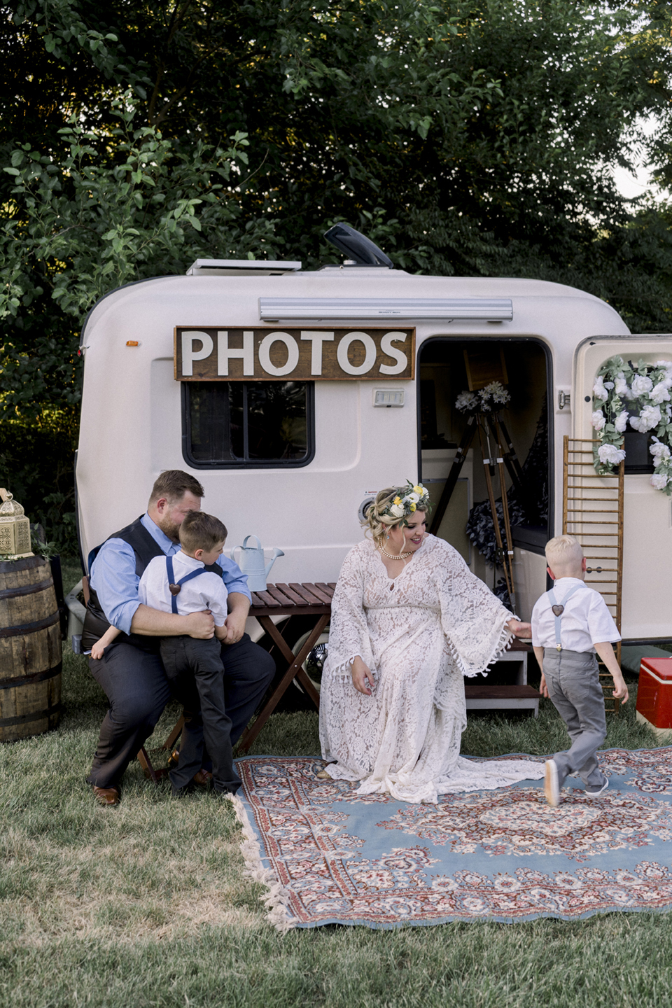 Outdoor boho farm vow renewal with kids