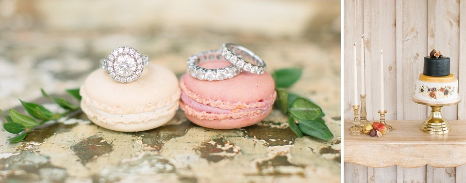 Diamond rings on macaroons during wedding inspiration photographed by Ashley Mac Photographs at Edel Haus Alpaca F arm styled by Lou & Co Rentals and Johnson Jewelers