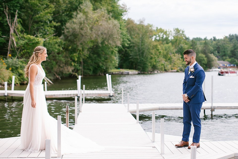 Berkshires lakeside first look photographed by Ashley Mac Photographs