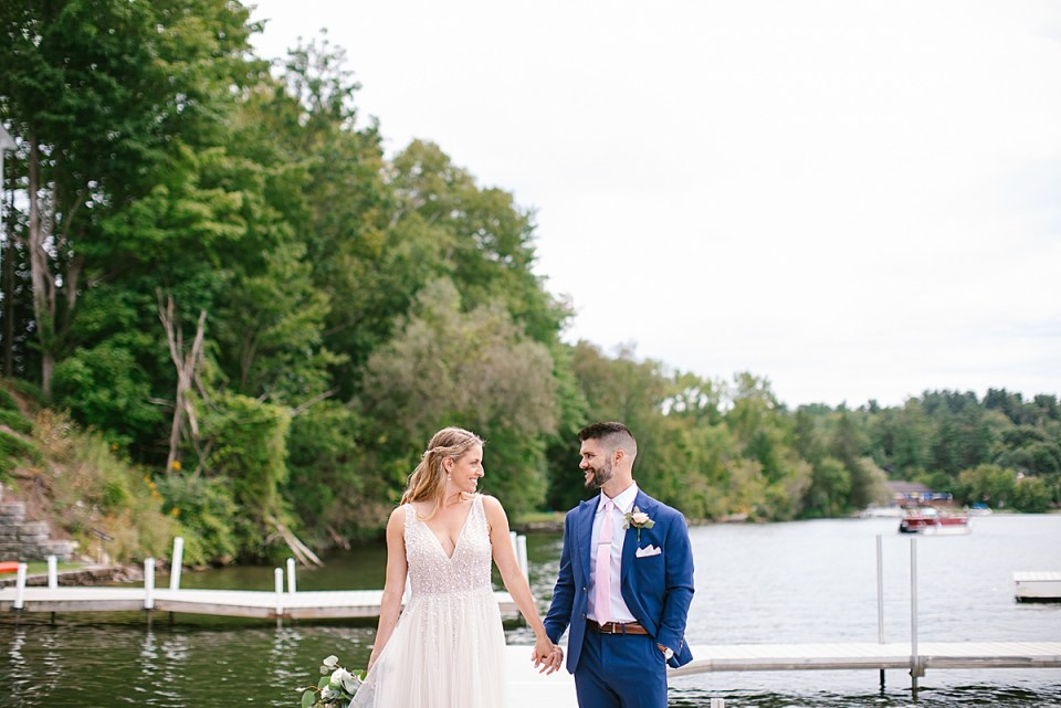 wedding portraits along lake with Ashley Mac Photographs