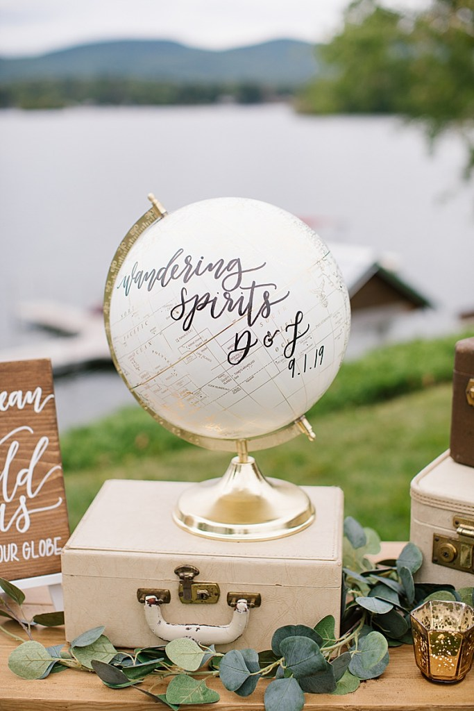vintage wanderlust Lake House wedding details for reception photographed by Ashley Mac Photographs