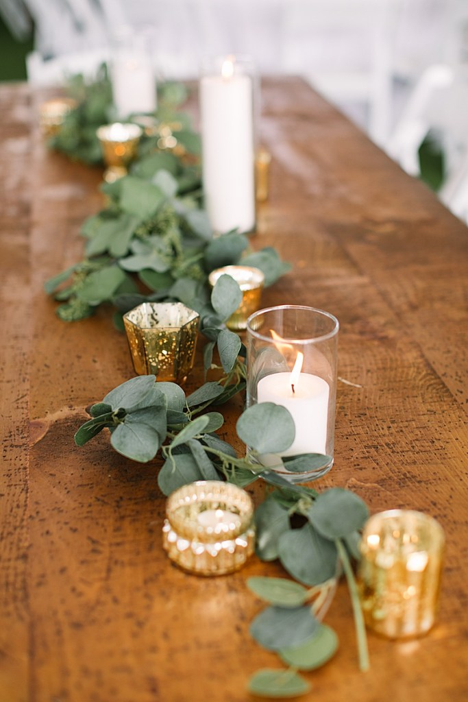 green and gold wedding decor photographed by Ashley Mac Photographs