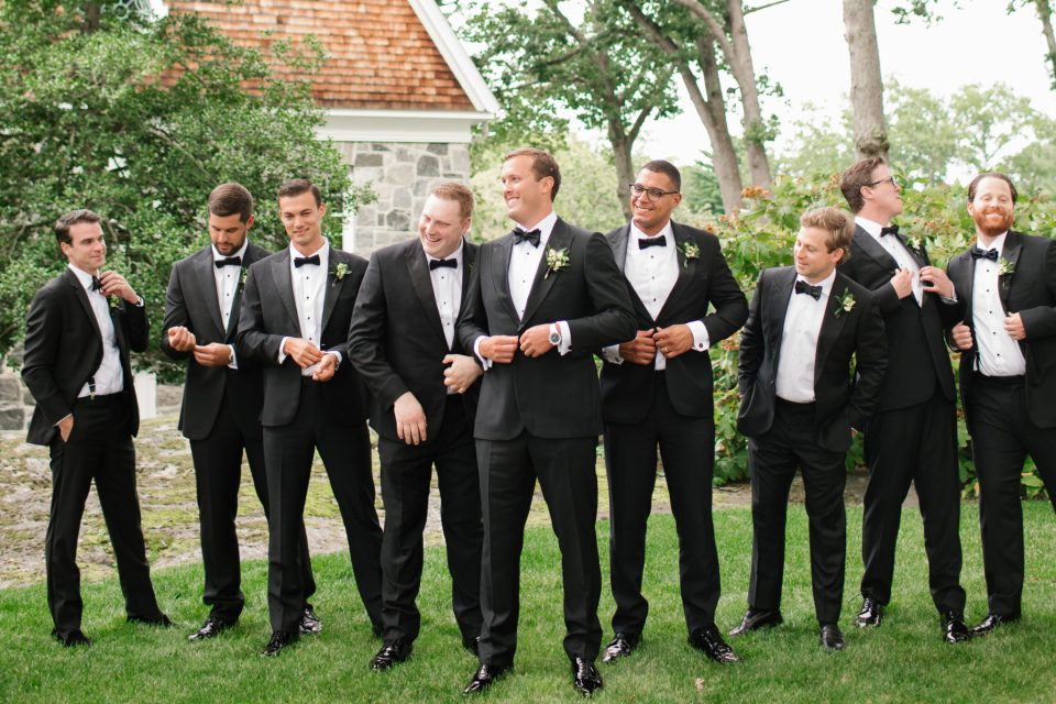 groom and groomsmen for Apawamis Club Wedding photographed by Ashley Mac Photographs