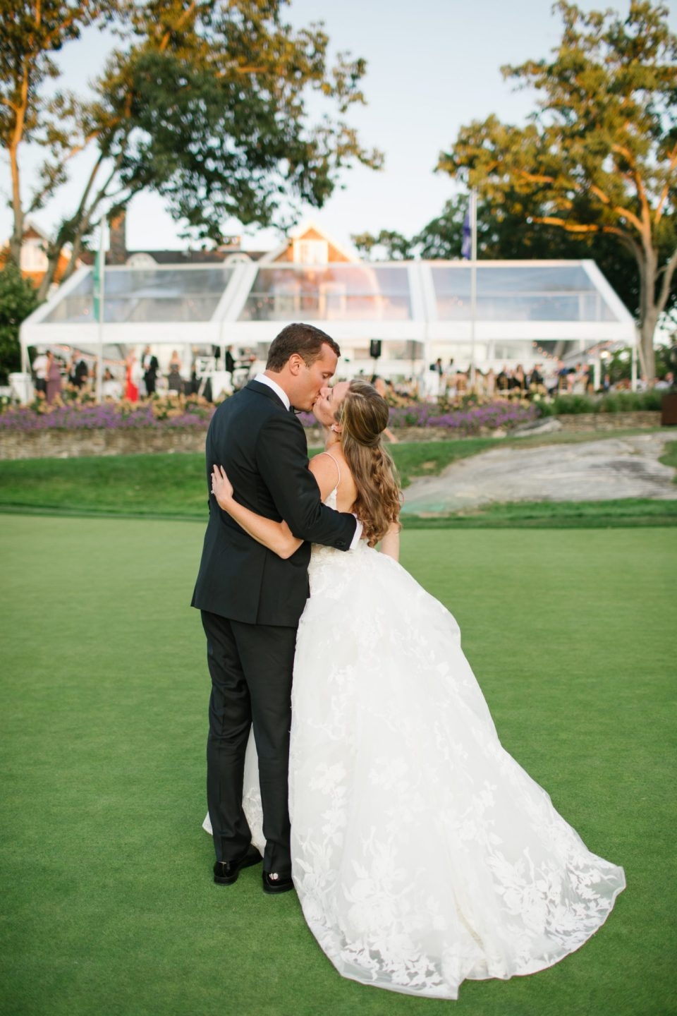 Ashley Mac Photographs takes newlywed portraits at golf course