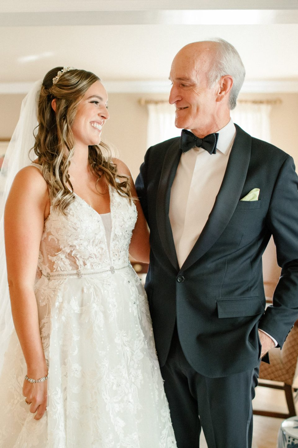 bride and father prepare for NJ wedding with Ashley Mac Photographs