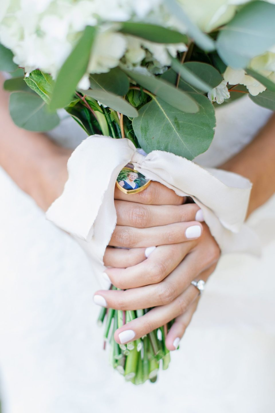 wedding bouquet with locket photo photographed by Ashley Mac Photographs