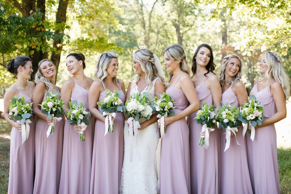 bridesmaid portraits at Rumson Country Club Riverhouse with Ashley Mac Photographs
