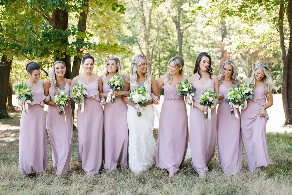 bridesmaids at Rumson Country Club Riverhouse wedding with Ashley Mac Photographs