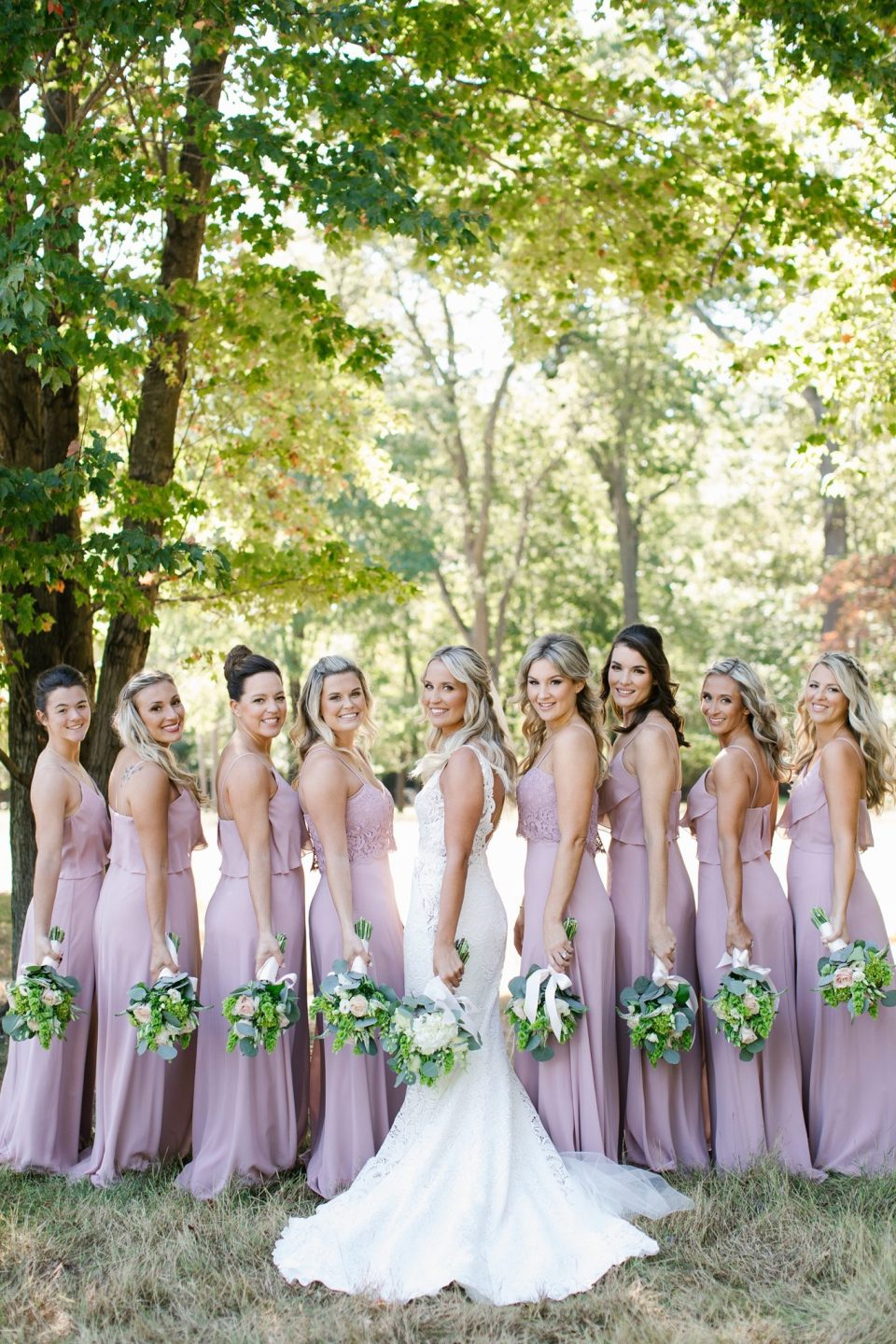 bridal party at Rumson Country Club Riverhouse with Ashley Mac Photographs
