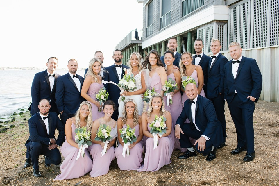 full bridal party portraits at Rumson Country Club Riverhouse with Ashley Mac Photographs